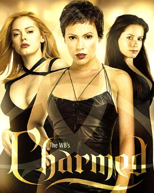 pic of Paige, Phoebe & Piper with Charmed logo