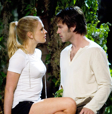 "Moyer and Paquin of ""True Blood"" gaze into each other's eyes"